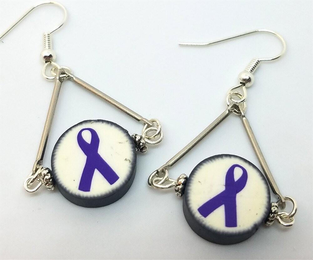 Fimo Clay Purple Ribbon Bead Dangle Earrings