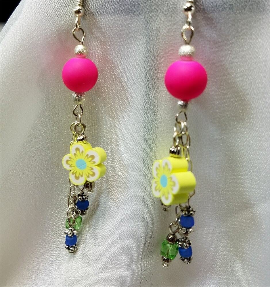 Hot Pink Rubber Bead and Fimo Clay Yellow Flowered Bead Earrings with Glass Bead Dangles