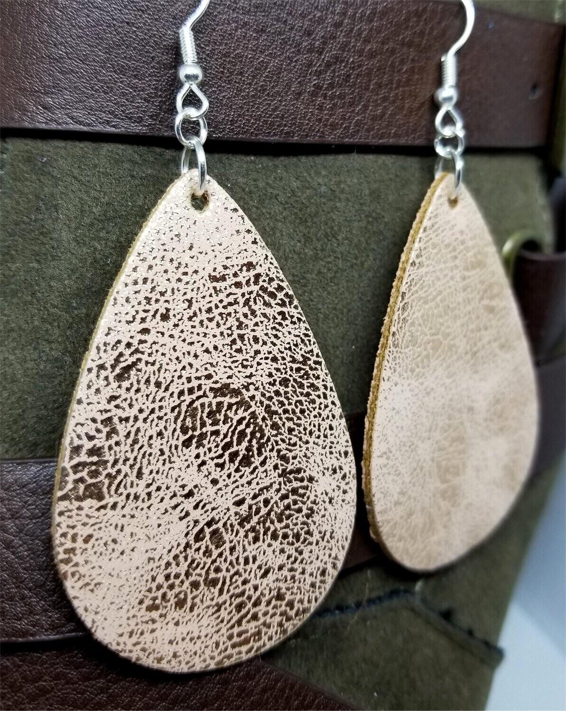 Worn Shiny Rose Gold Tear Drop Shaped FAUX Leather Earrings