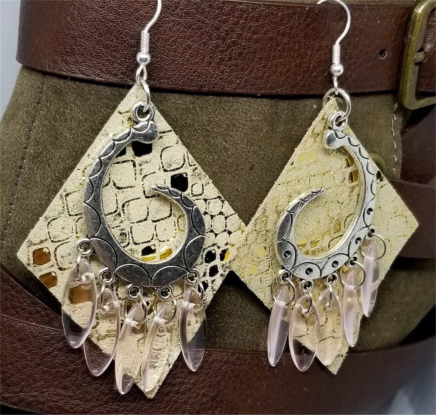 Shiny Metallic Gold Diamond Shaped Real Leather Earrings with Silver Chandelier with Glass Bead Dangles