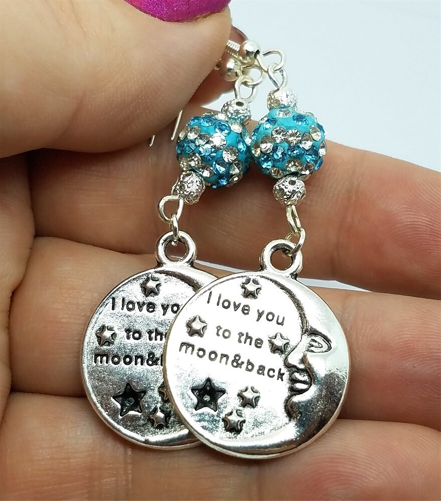 I Love You To The Moon and Back Earrings with Striped Pave Beads