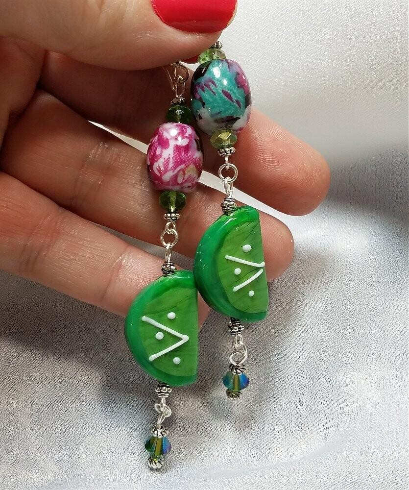 Tropical Lime Dangle Earrings