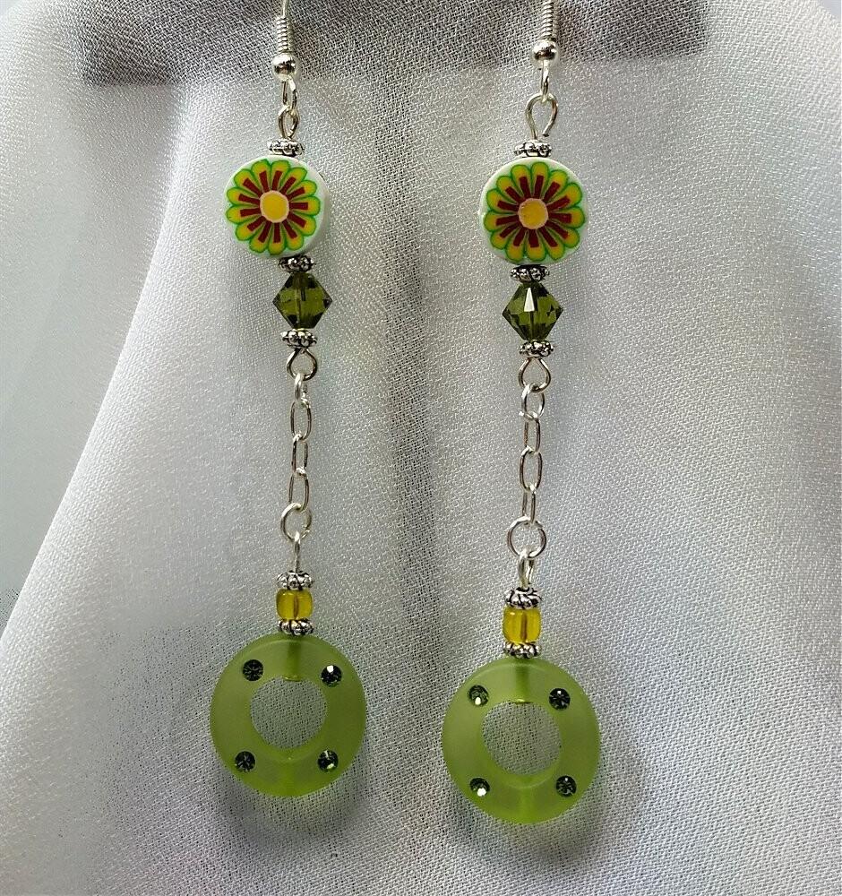 Green Fimo Flower Drop Earrings