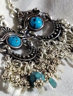 Silver and Turquoise Colored Chandelier Earrings