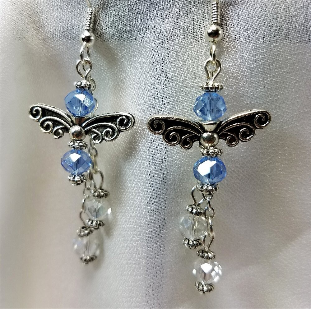 Dragonfly Earrings with Fire Polished Czech Glass Bead Dangles