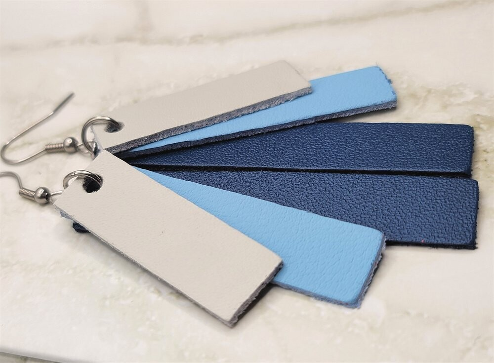 Blues Color Block Stacked Real Leather Strip Earrings