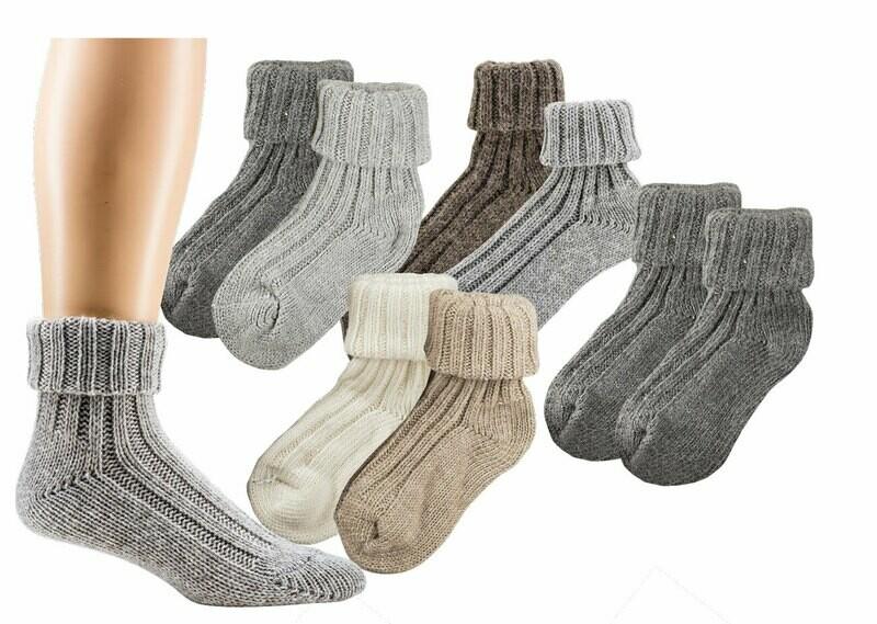Umschlag-Socken mit Alpakawolle, grob gerippt