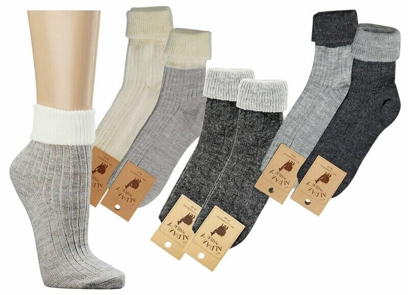 Umschlag-Socken mit Alpakawolle, fein gerippt