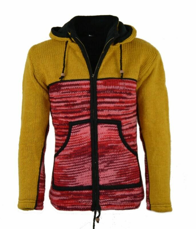 "Schafwoll Jacke ""Free-Style"" Gelb-Rot, mit abnehmbarer Kapuze"