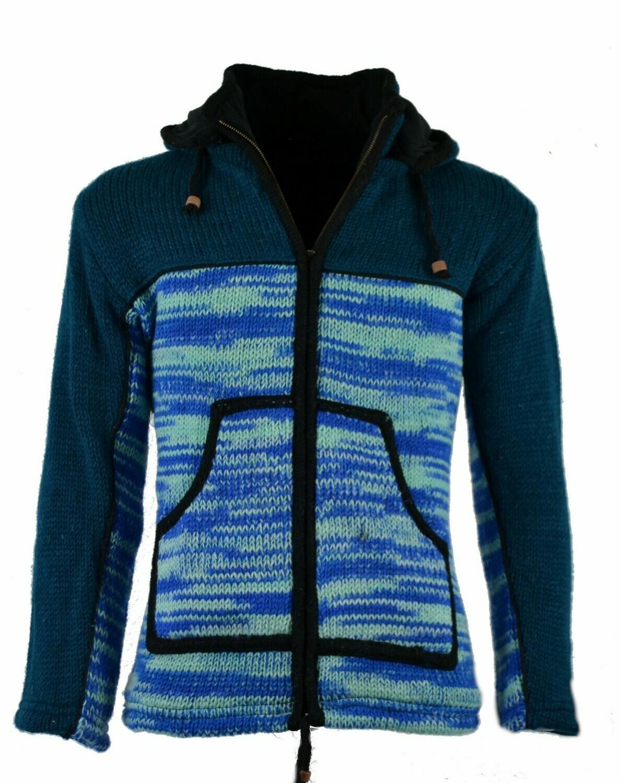 "Schafwoll Jacke im ""Free-Style"" blau, mit abnehmbarer Kapuze"