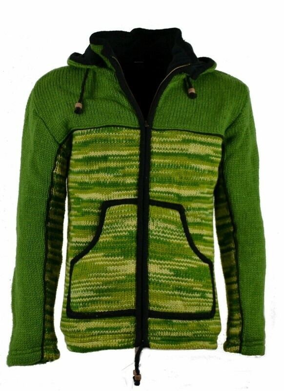 "Schafwoll Jacke ""Free-Style"" Grün, mit abnehmbarer Kapuze"