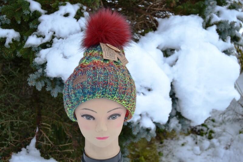 Woll-Mütze mit Fellbommel (Webpelz) mit Alpakawolle, bunt