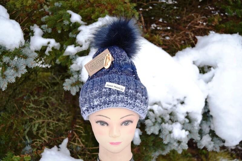 Woll-Mütze mit Fellbommel (Webpelz) mit Alpakawolle, blau meliert
