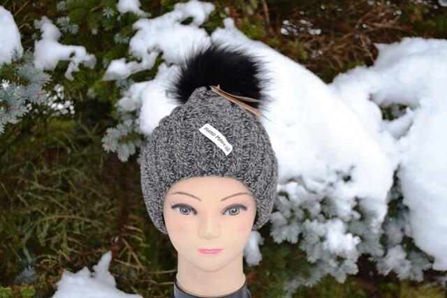 Woll-Mütze mit Fellbommel (Webpelz) mit Alpakawolle, grau meliert