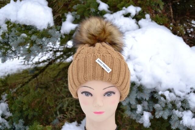 Woll-Mütze mit Fellbommel (Webpelz) mit Alpakawolle,beige kräftig