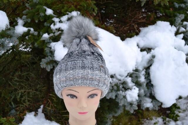 Woll-Mütze mit Fellbommel (Webpelz) mit Alpakawolle, grau schwarz meliert