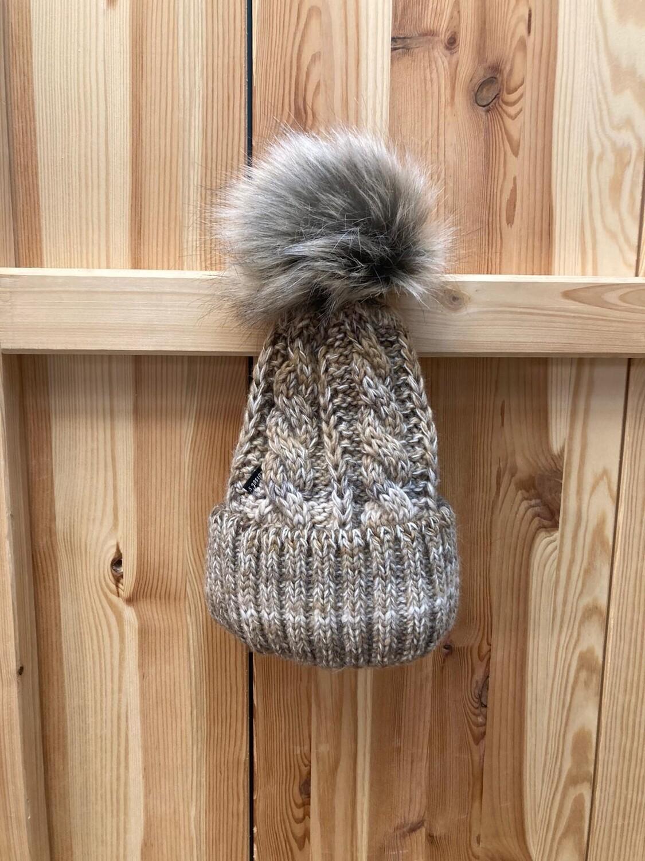 Woll-Mütze mit Fellbommel (Webpelz) mit Alpakawolle, beige meliert