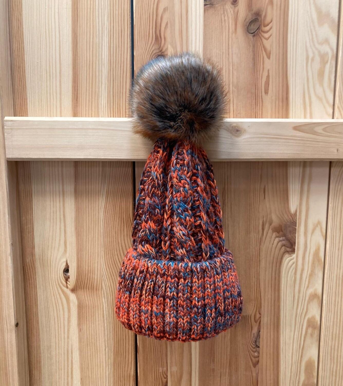 Woll-Mütze mit Fellbommel (Webpelz) mit Alpakawolle, orange meliert
