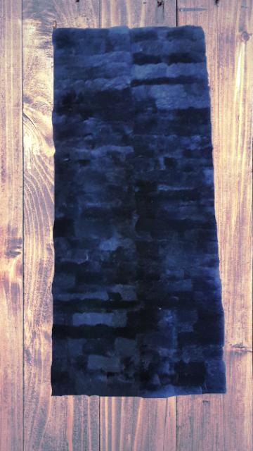 Lammfell-Teppich, Patchwork-Qualität, ca. 140x60 cm, schwarz
