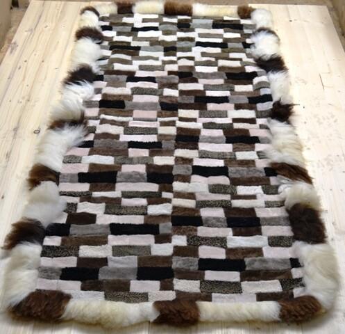 Lammfell-Teppich, Patchwork-Qualität, ca. 180x90 cm, naturtöne Nr. 1