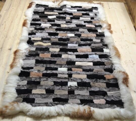 Lammfell-Teppich, Patchwork-Qualität, ca. 175x90 cm, grau/naturtöne Nr. 7