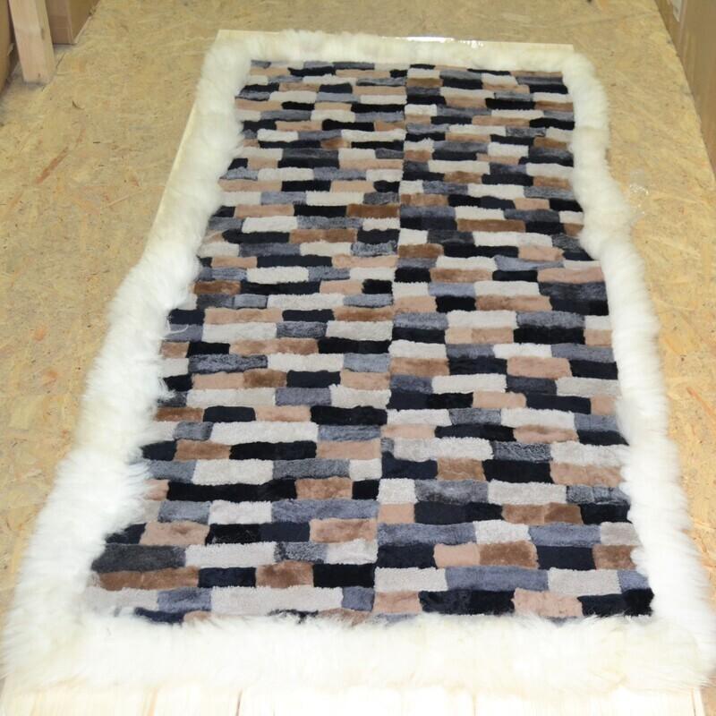 Lammfell-Teppich, Patchwork-Qualität, ca. 180x95 cm, weiß/grau/braun/schwarz Nr. 4