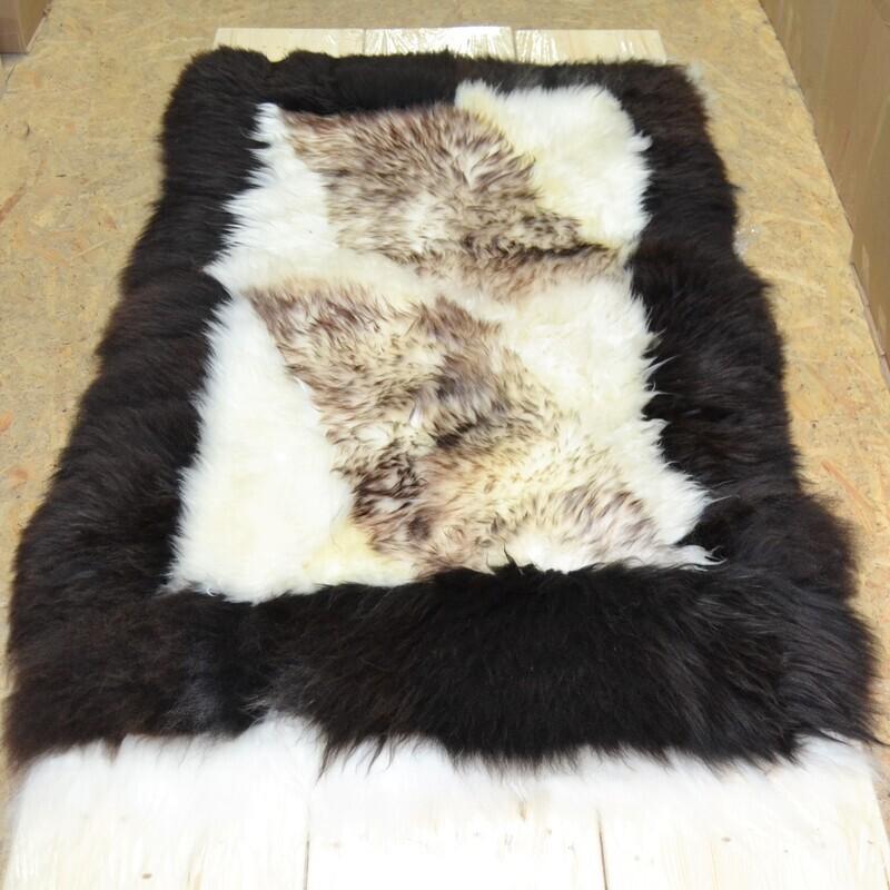 Lammfell-Teppich, Patchwork-Qualität, ca. 160x95 cm, naturtöne. langhaar Nr. 10