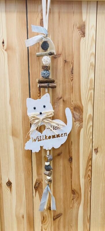 """Türhänger """"Katze- Herzlich Willkommen"""" weiß/Beige oder rot"""