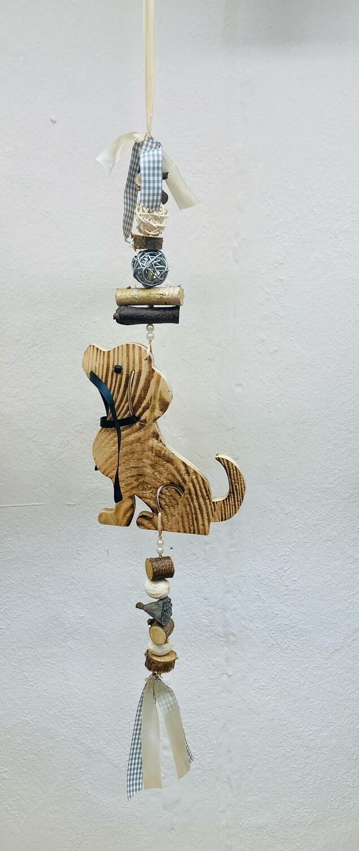 """Türhänger """"Hund mit Leine"""" weiß/beige o. grün/weiss"""