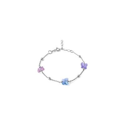Bracciale in argento Colorato, Rosa Turchese Violetto