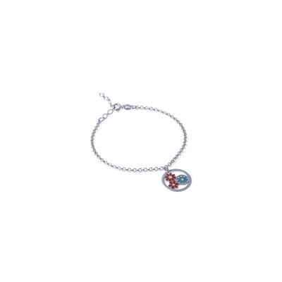 Bracciale in argento con Pendente a Cerchio Rosso