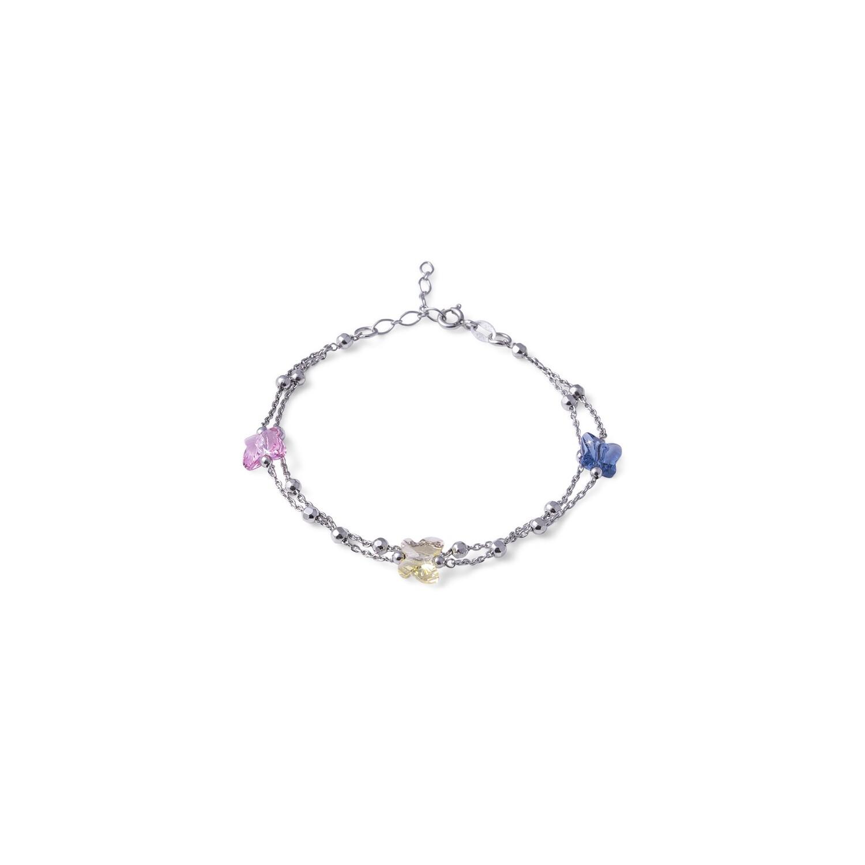 Bracciale in argento Colorato Denim, Giallo, Rosa