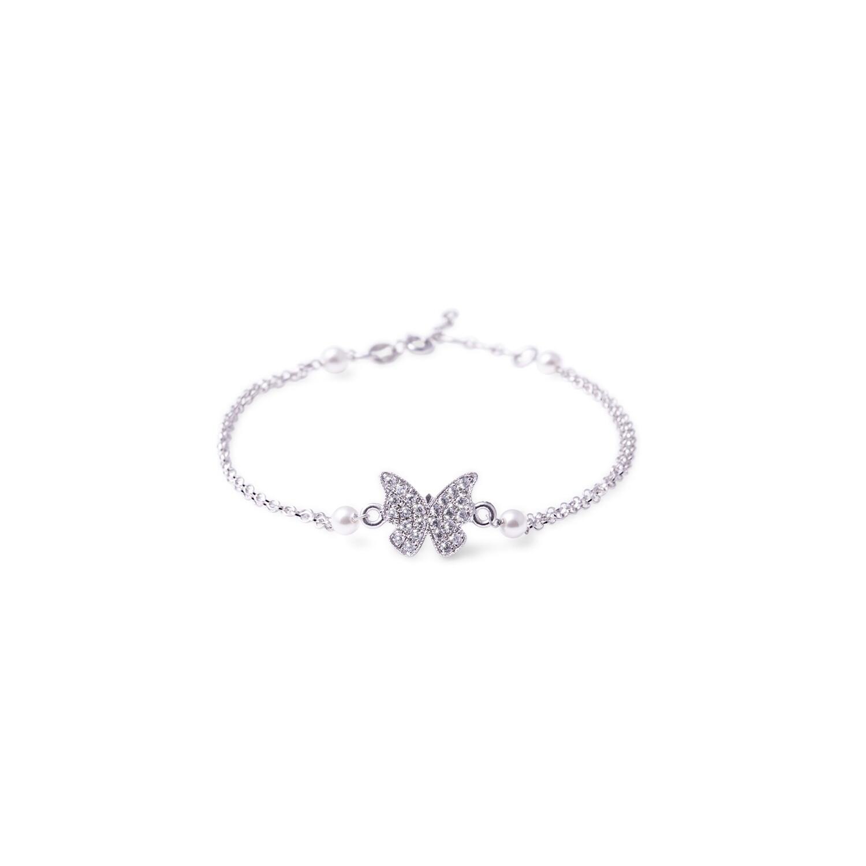 Bracciale in argento con Farfalla e Doppia Catena