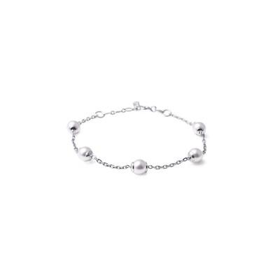 Bracciale in argento con Perle Bianche da 6 mm.