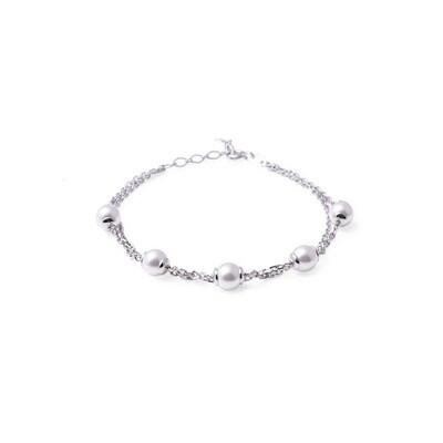 Bracciale in argento Catena con Perle Bianche