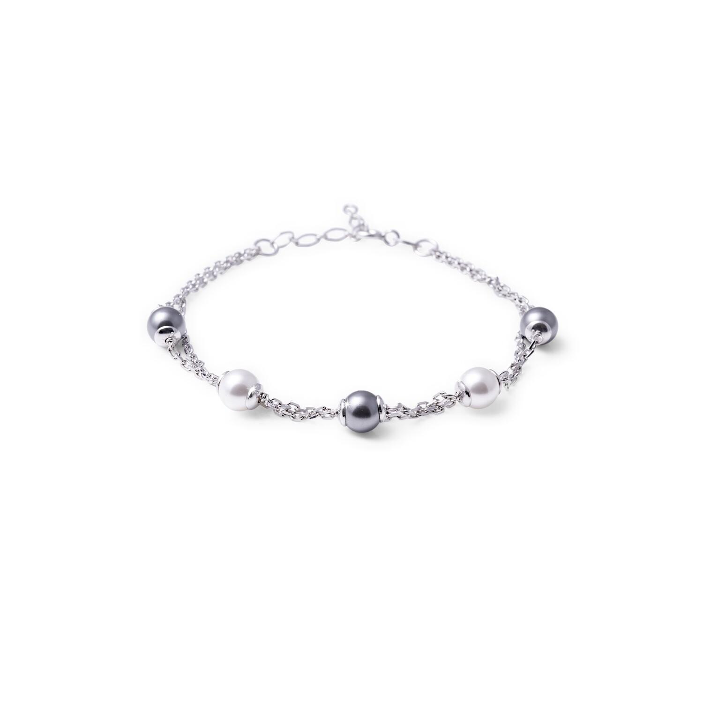 Bracciale in argento Catena con Perle Bianche e Nere
