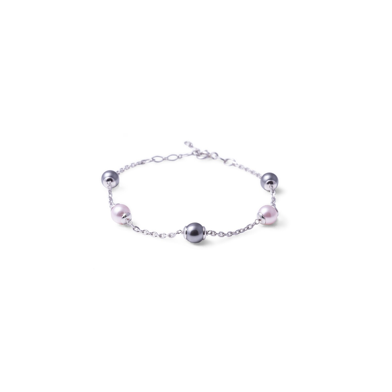 Bracciale in argento con Perle Rosa Nero da 6 mm.