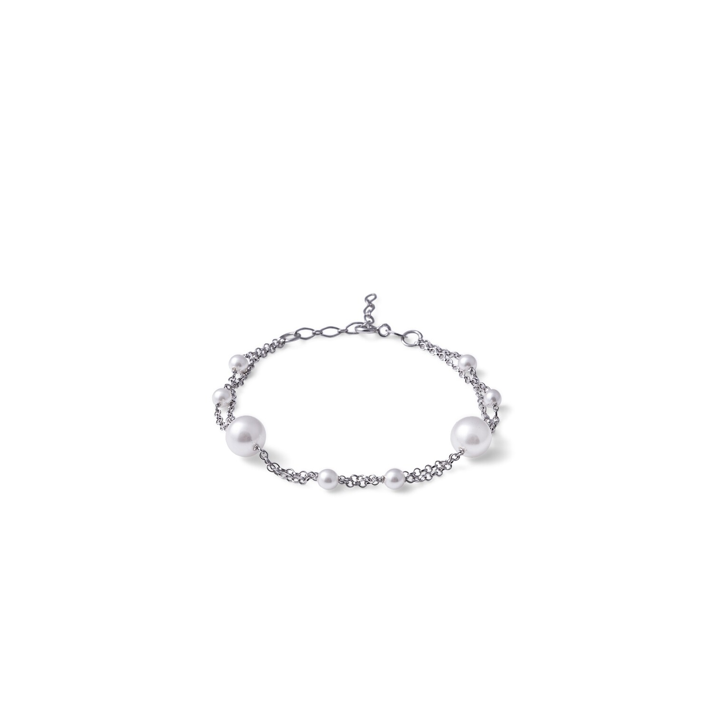Bracciale in argento Perle Bianche con Doppia Catena