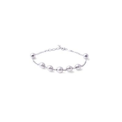 Bracciale in argento Catena Alternata a Perle Bianche
