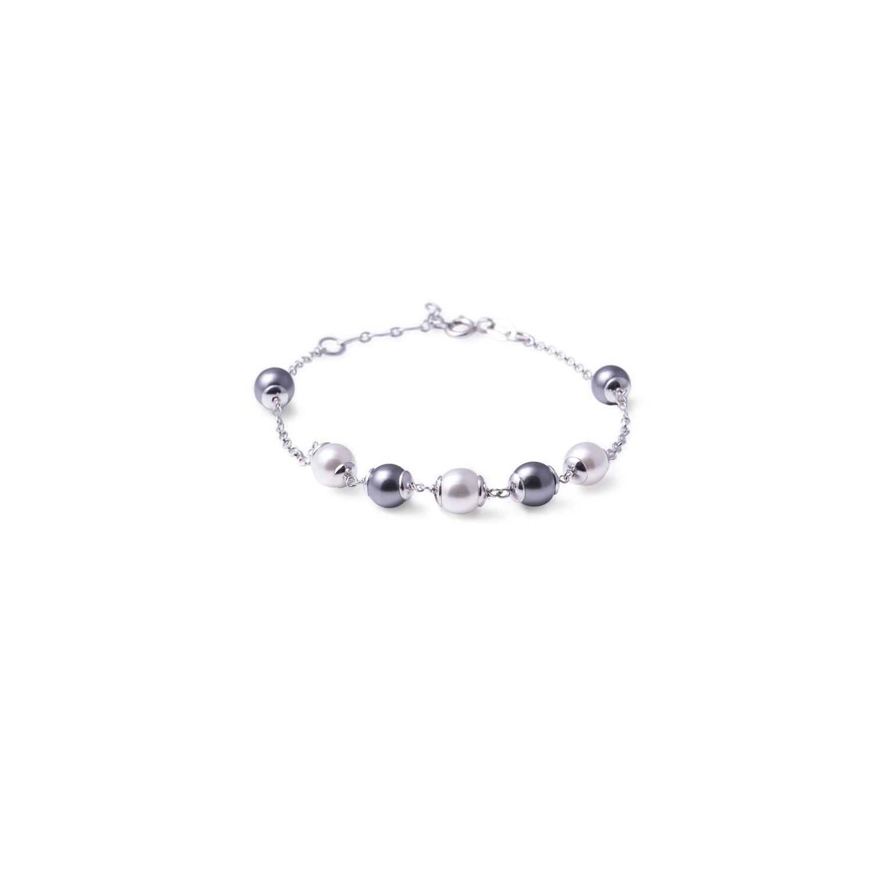 Bracciale in argento Catena Alternata a Perle Bianche Nere