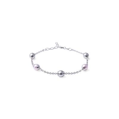 Bracciale in argento con Perle Grigio Rosa da 6 mm.