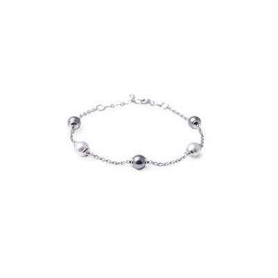 Bracciale in argento con Perle Bianche e Nere da 6 mm.