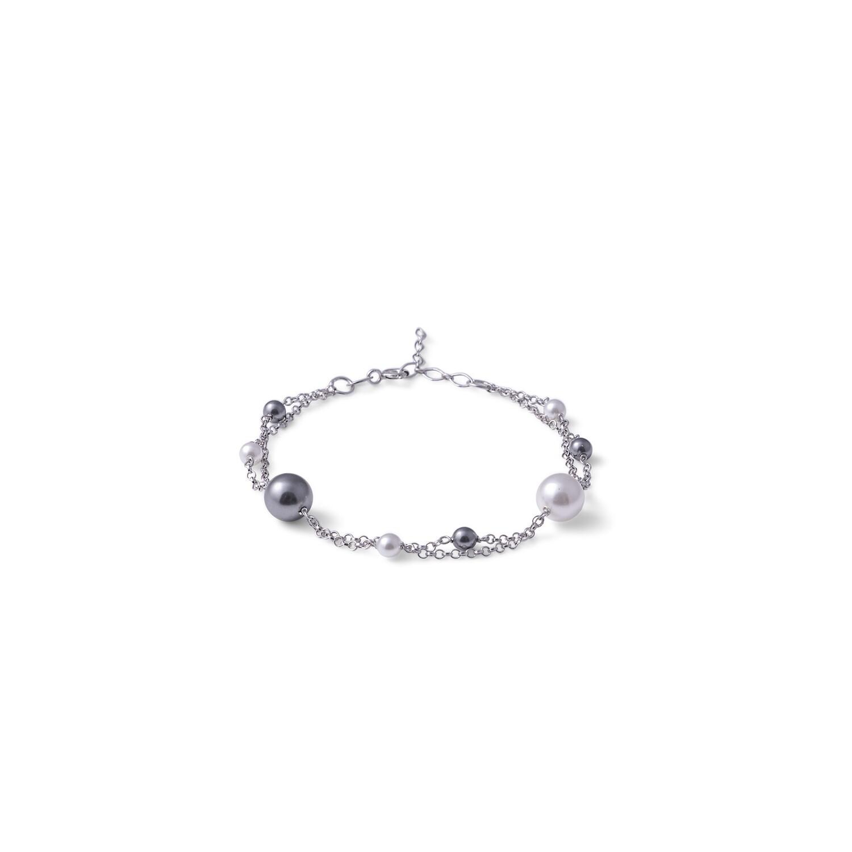 Bracciale in argento Perle Bianche Nere con Doppia Catena