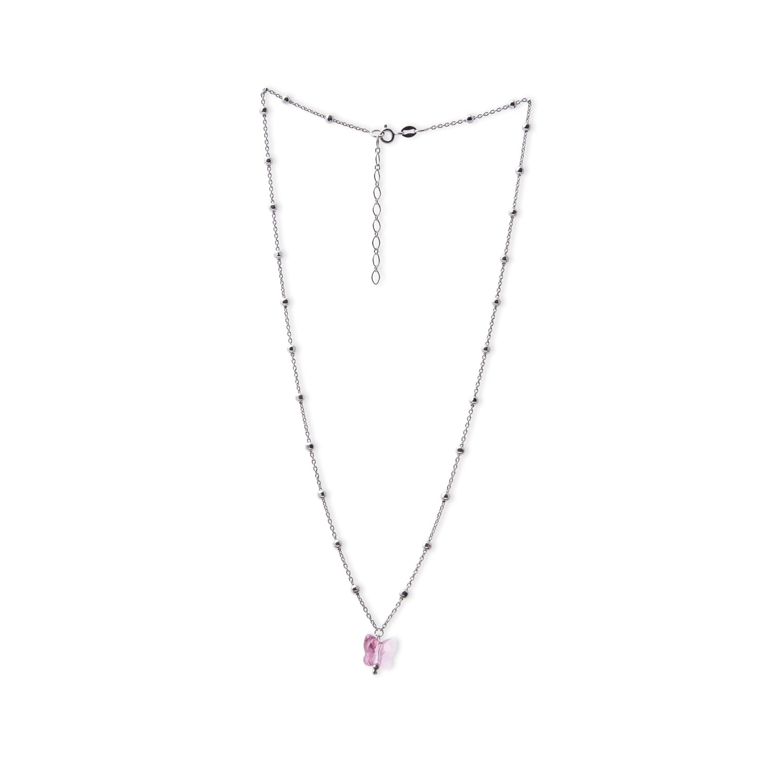 Girocollo in argento da donna AG925 con pietra rosa