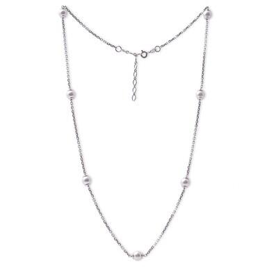 Girocollo in argento con Perle Bianche da 6 mm.