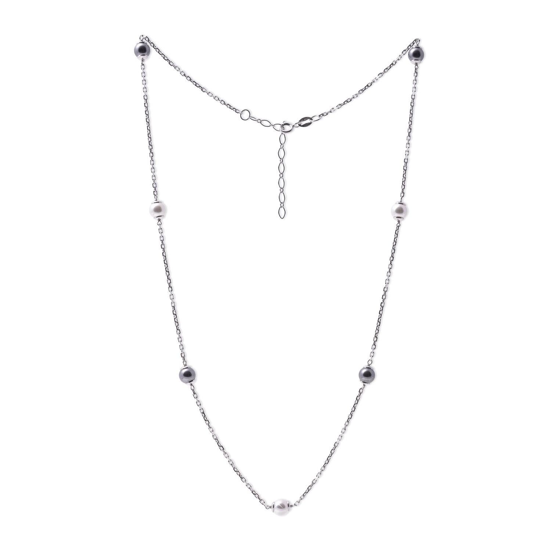 Girocollo in argento con Perle Bianche Nere da 6 mm.