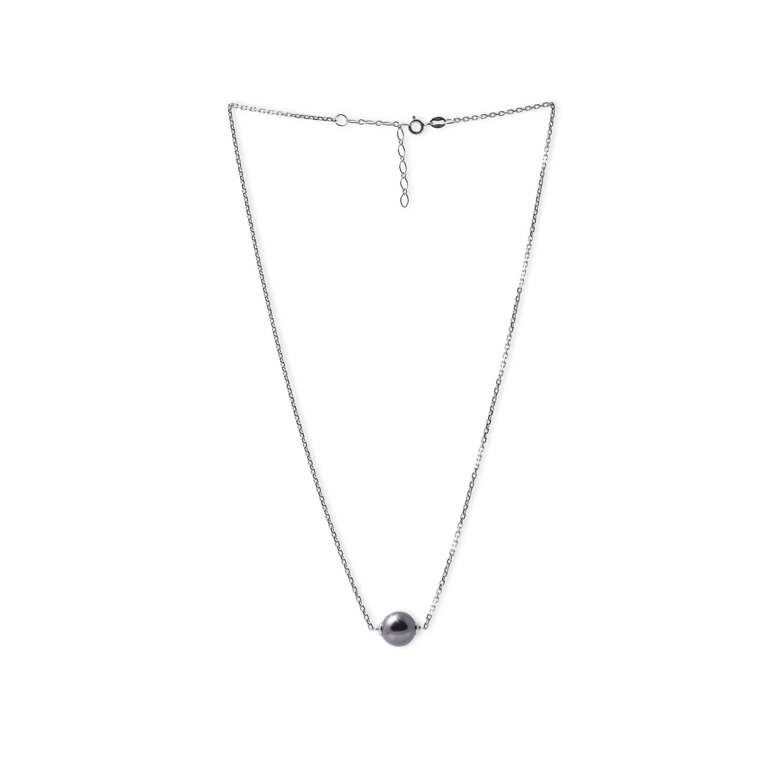 Girocollo in argento con Centrale Perla Nera da 10 mm.