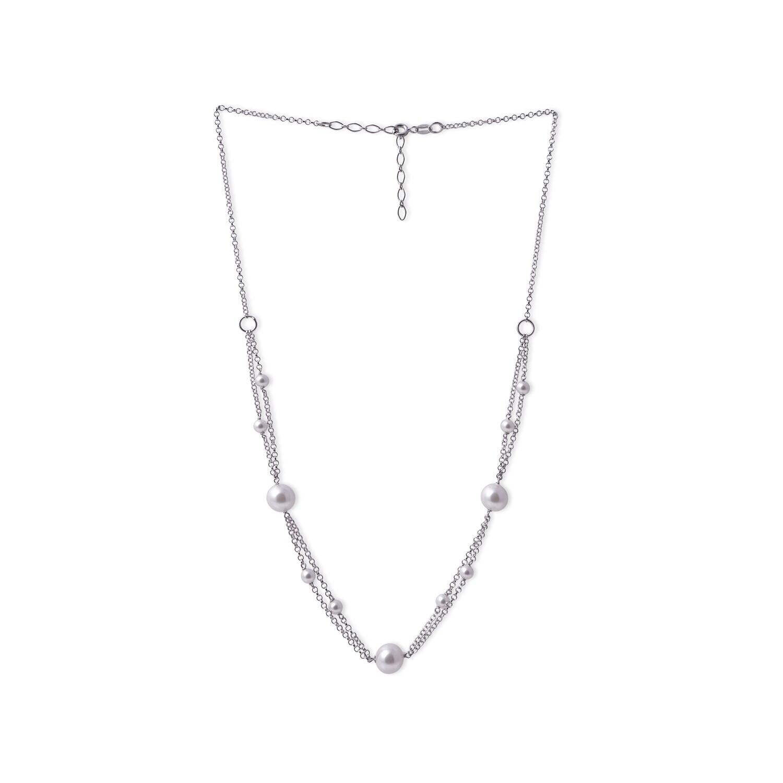 Girocollo in argento Doppia Catena e Perle Bianche