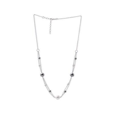 Girocollo in argento Doppia Catena e Perle Bianche Nere