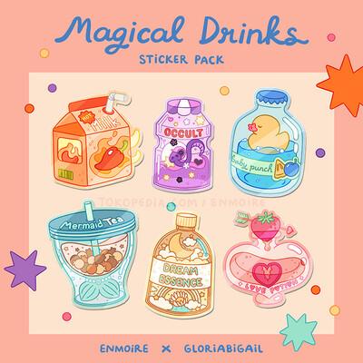 Magical Drinks Glitter Stickers by Enmoire & Gloriabigail